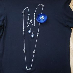 Earring & necklace set- silver, crystal and fabric